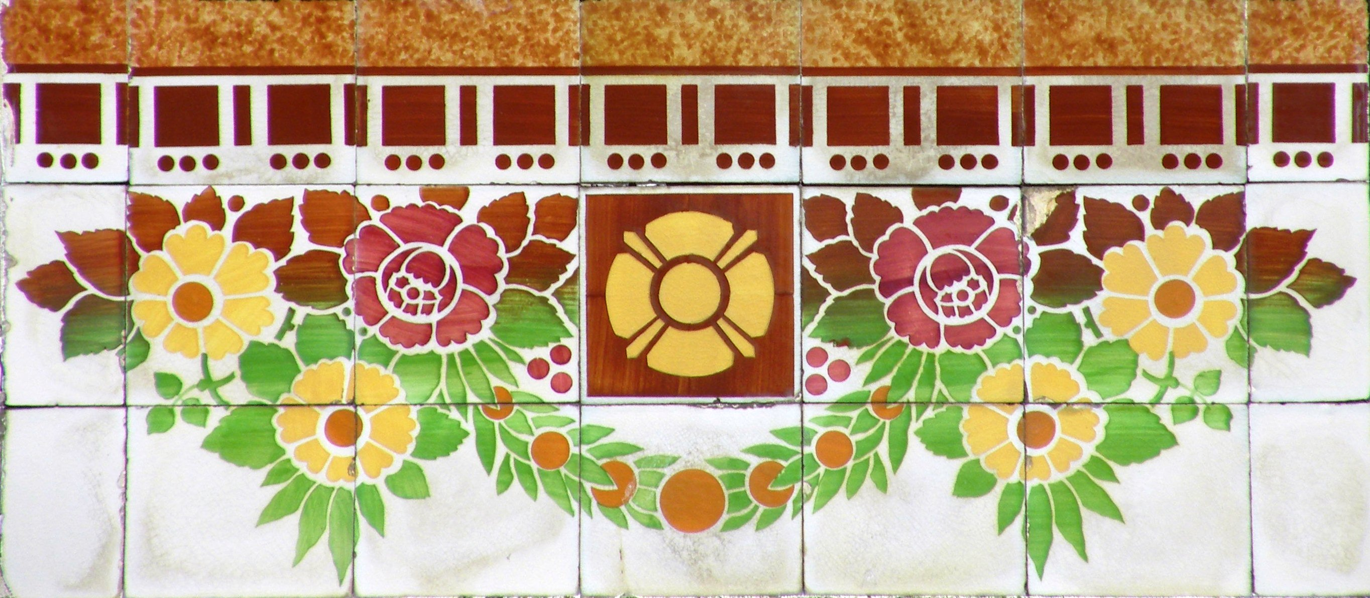 Early 20th century Art Nouveau  tile panel on a house at Ruo do Duque de Saldanha in Porto