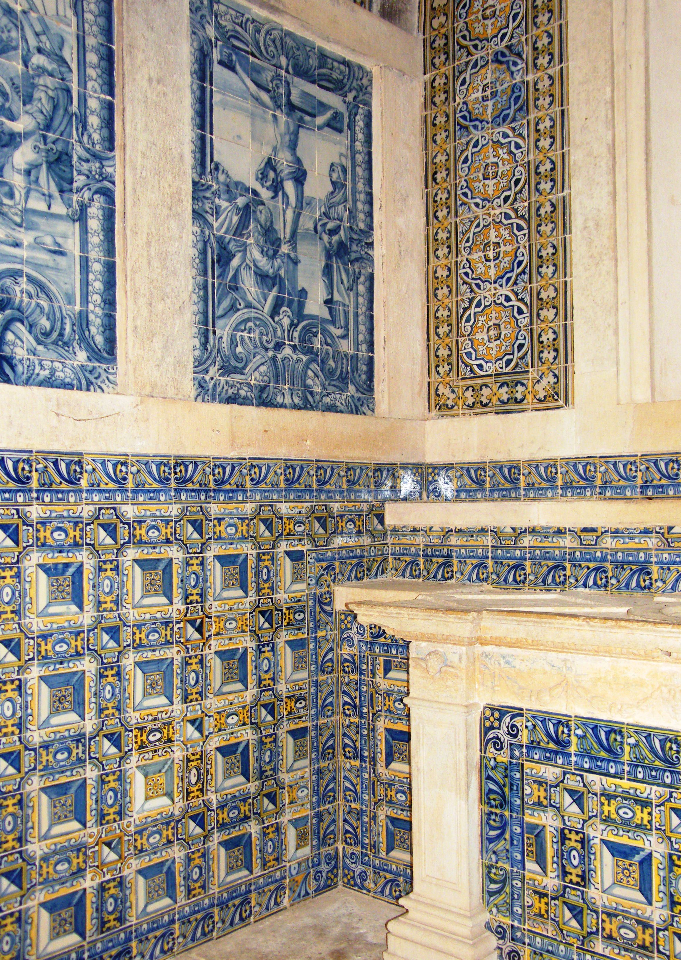 Chapel of Antonio Portacarreiro in the Convento do Cristo with late 17th century polychrome and early 18th century blue-and-white tiles