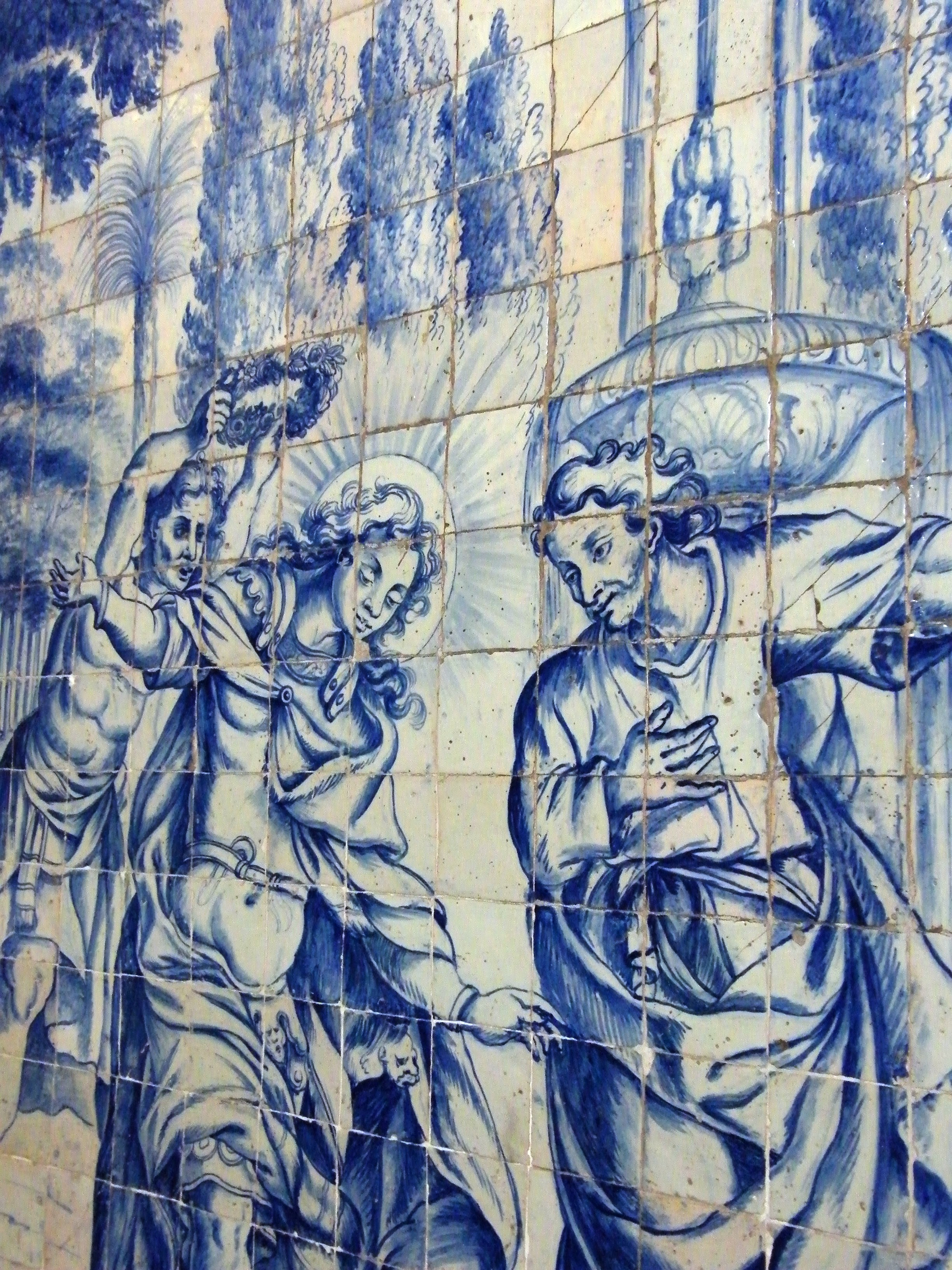 Detail of late 17th century tile panel in Igreja de Sao Victor in Braga