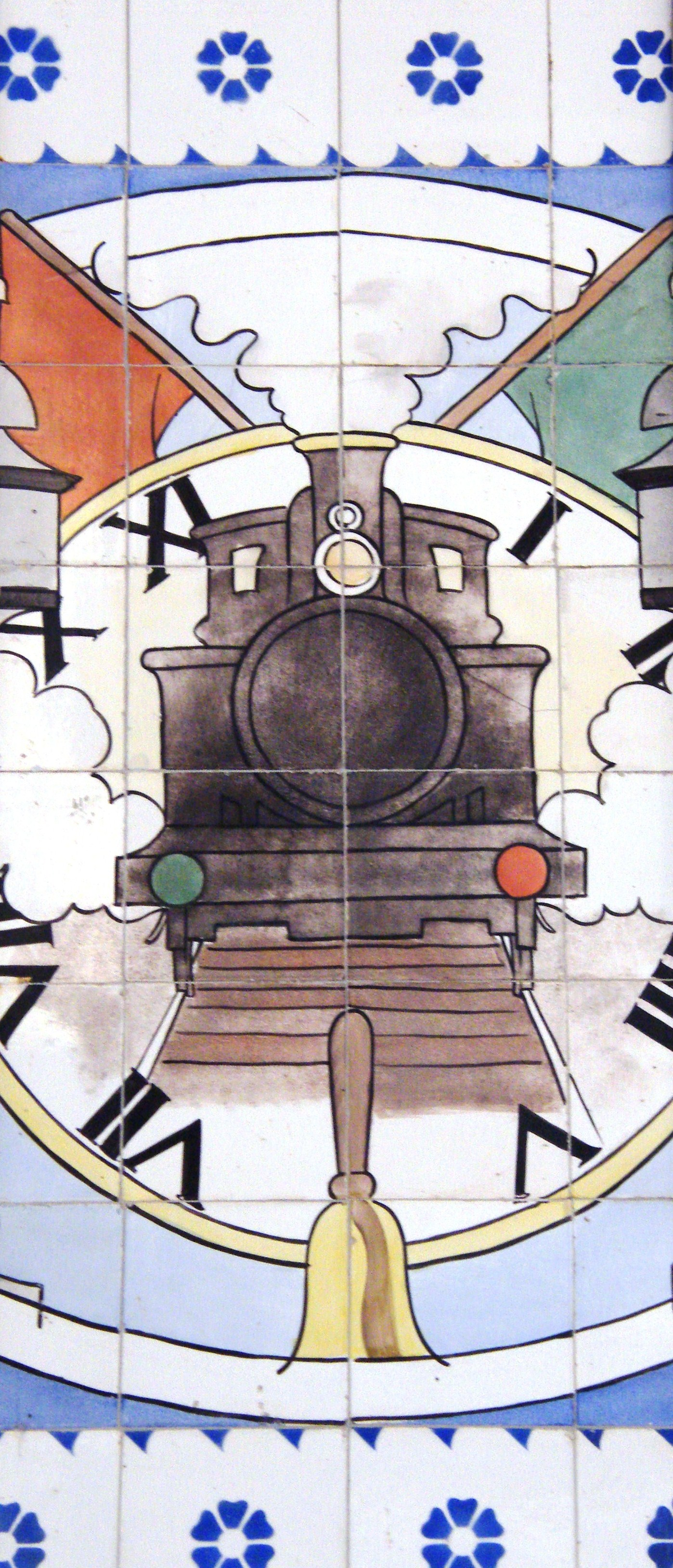 Tile panel in the entrance  hall of Porto Railway Station