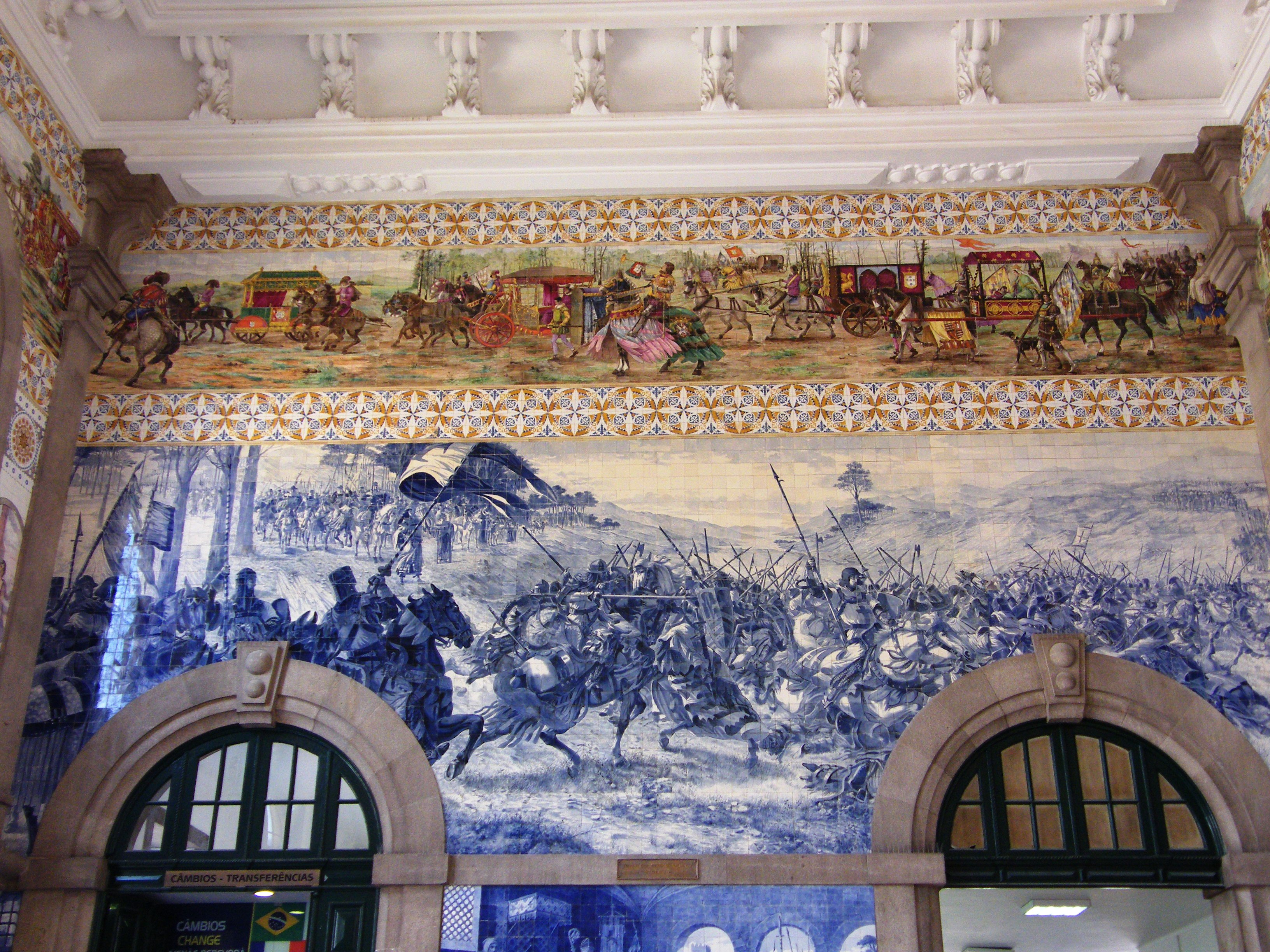 Tiled entrance hall of Porto Railway Station with tiles dating from 1916