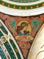 Mosaic in cupola of County Arcades built in 1902 depicting a woman representing Agriculture