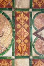 Detail of the encaustic Godwin tiles, c. 1875, in Leeds Parish Church, this is a 'mixed' floor of marble and ceramic tiles
