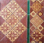 Detail of encaustic Godwin tiles, c. 1875,  in Leeds Parish Church