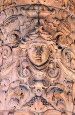 Detail of terracotta decoration on the columns at the entrance of the Metropole Hotel