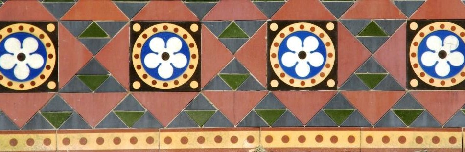Encaustic tiles made by Godwin, c. 1875,  at 46 York Place