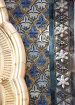 Detail of Moorish style stoneware tiles made by Doulton above the entrance of St. Paul's House, 1878