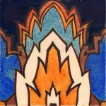 Abstract Art Deco tile made by the American Encaustsic Tiling Co. c. 1930