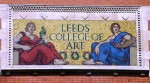 Early 20th century mosaic above the entrance of Leeds College of Art designed by Gerald E.Moira in 1903 and made by Rust's Vitreous Mosaic Company