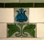 Art Nouveau tile  in entrance of Vicarage Chambers