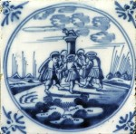 Mid 18th century Dutch biblical tile showing  scene from the Old Testament of  the Dance around the Golden Calf and ox-head corner motifs