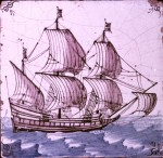 Late 17th century Dutch tile with ship in full sail with ox-head corner motifs
