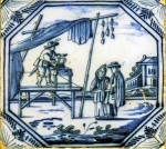 Mid 18th century Dutch tile made in Rotterdam with a scene from daily life