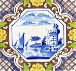 Late 19th century Dutch tile with river scene made by J. van Hulst in Harlingen, Friesland