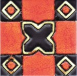 Tile made by Pilkingtons with orange-vermilion glaze made from uranium oxide (which is lightly radioactive), 1931