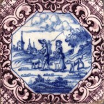 Mid 18th century Dutch tile probably made in Rotterdam showing a hunter returning home set within an elaborate French style border