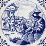 Modern replica by Joop van de Werf of a biblical tile showing Jonah and the Whale