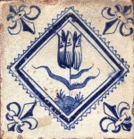Mid 17th century Dutch tile with a tulip and fleur-de-lis corner motifs
