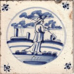 Mid 18th century  Dutch tile made in Harlingen depicting  a shepherd and his flock and spider's head corner motifs