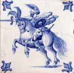 Late nineteenth century tile with a warrior on horseback and fleur-de-lis corner motifs
