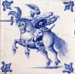Late nineteenth century tile with a warrior on horseback and fleur-de-lis corner motifs