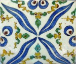 Under-glaze painted Turkish tile, 18th century.