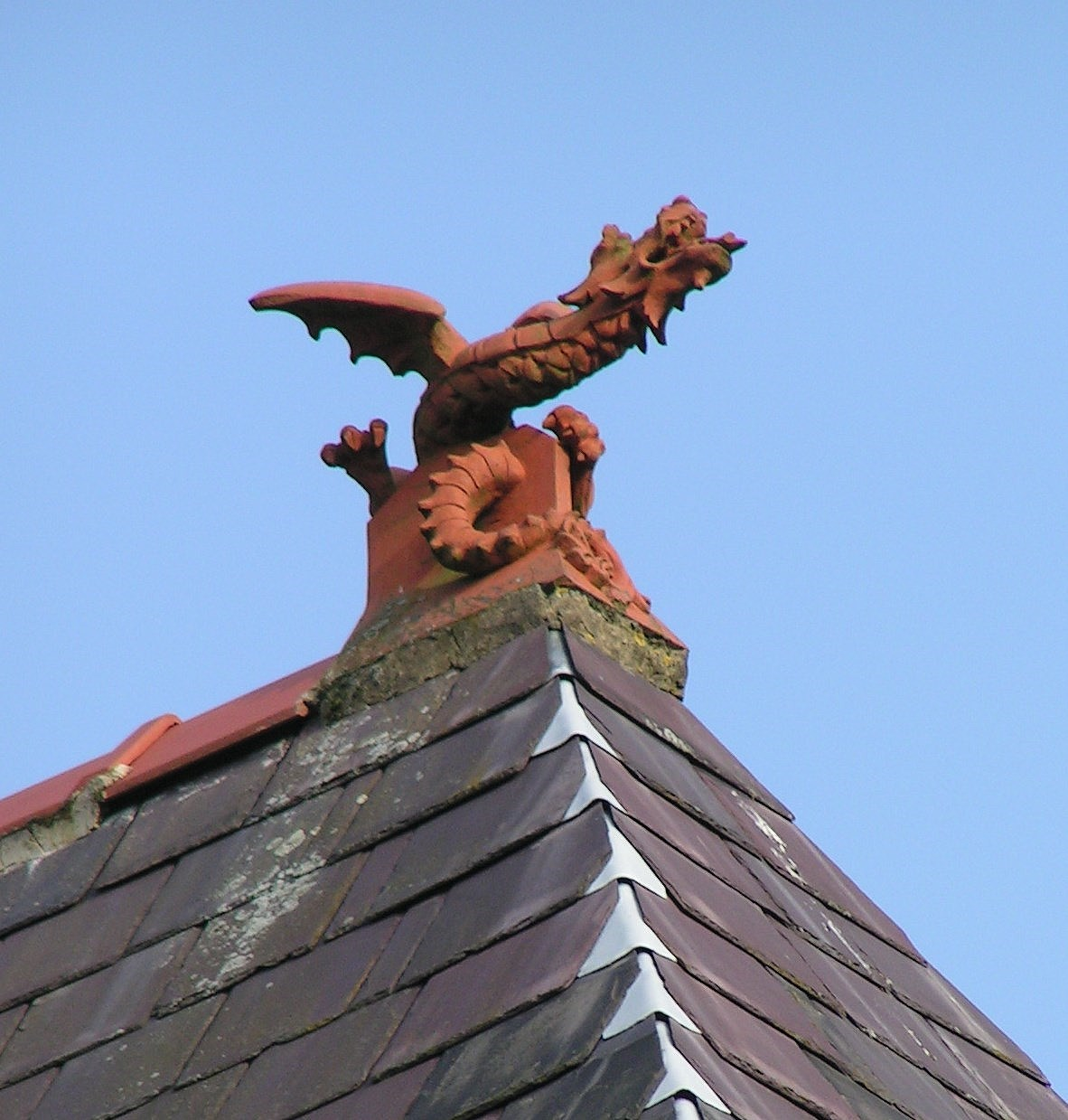 Dragon finial on a Victorian house in Ilkley, Yorkshire, c. 1890