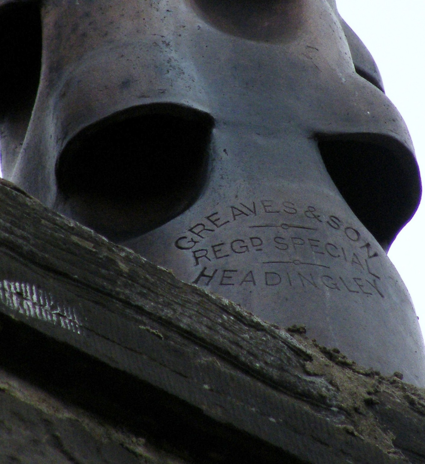 Greaves & Son trade mark on chimney in Headingley, Leed, c. 1890