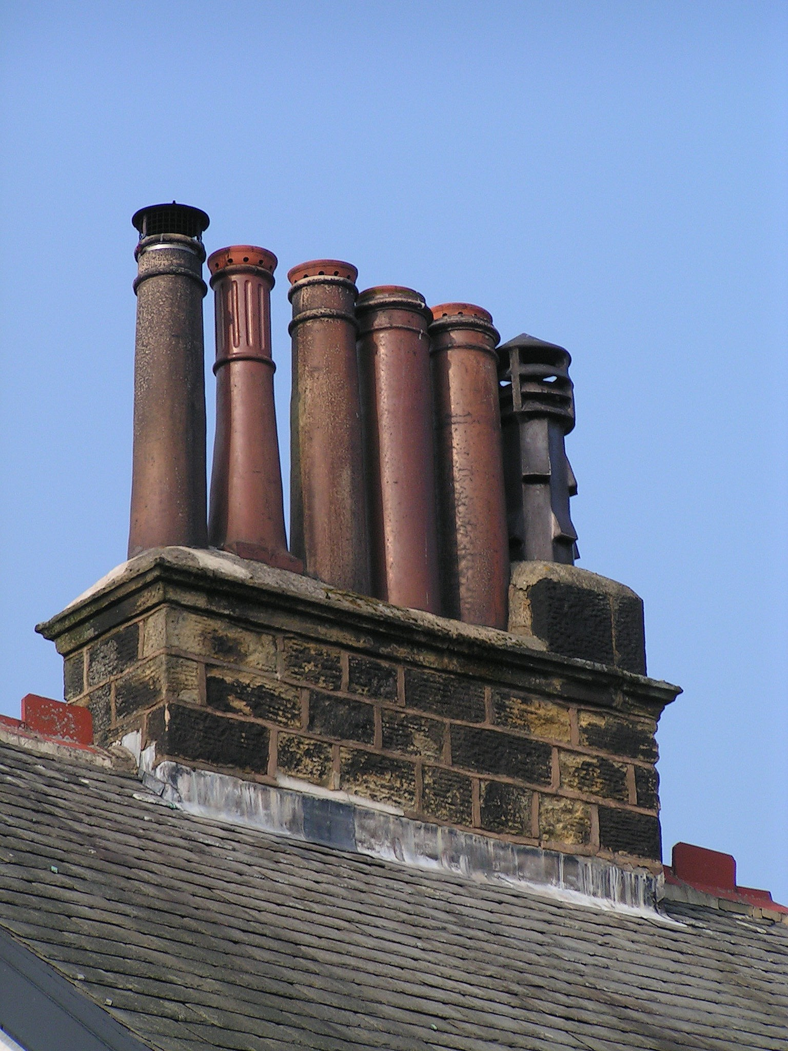'Long Tom' chimney pots on Victorian house in Ilkley, Yorkshire, c. 1885