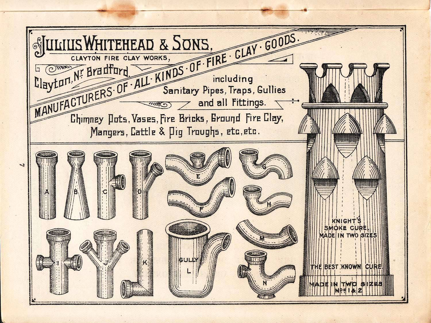 page from a Julius Whitehead & Sons trade catalogue, Bradford, c. 1910