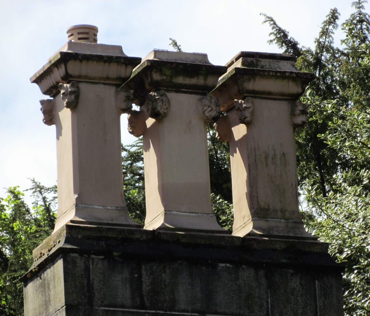 Square chimney pots with lion's heads on Wilshaw Villa, Wilshaw near Huddersfield, c. 1850