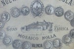 Detail of a Nolla tile catalogue showing the factory and Miguel Nolla's house at the back.