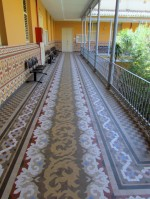 Geometrical tiled pavement and wall dado made by Nolla on the first floor of the St.Juan Bautista Orphanage in Valencia.
