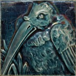 Press-moulded Burmantofts tile showing an ibis, c. 1885