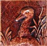 Press-moulded Burmantofts tile showing a duckling, c. 1885
