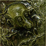 Press-moulded Burmantofts tile showing a monkey, c. 1885