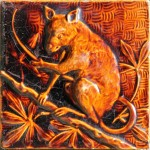 Press-moulded Burmantofts tile showing an opossum, c. 1885