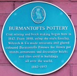 Blue plaque on the site of the demolished Burmantofts works in Leeds