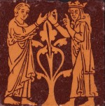 Minton encaustic floor tile dated 1868 showing Edward the Confessor giving his ring to a beggar