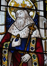 Stained glass window showing Edward the Confessor holding his ring  in St. Laurence Church, Ludlow