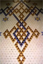 Design by Owen Jones using dust-pressed clay tesserae made by Minton & Co. in c. 1847 for the entrance corridor at Little Woodhouse Hall, Clarendon Road, Leeds