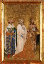 Wilton Diptych, 1395, showing Edward the Confessor in a white robe holding a ring (National Gallery, London)