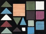 A selection of dust-pressed mosaic tiles of different sizes and colours made by Minton, Hollins & Co.